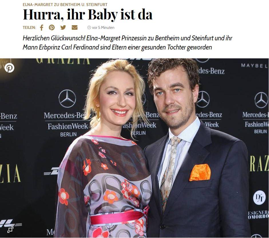 Geburt Tochter Elna-Margret zu Bentheim und Steinfurt GALA